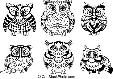 Cartoon colorless great horned owls birds - Cartoon...