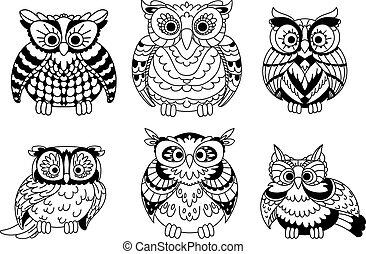 Cartoon colorless great horned owls birds - Cartoon...