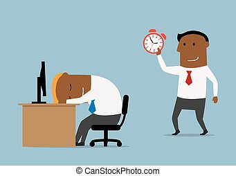 Businessman with alarm clock doing wake up - Tired cartoon...
