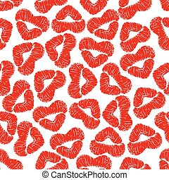 Red lips prints background with woman lipstick