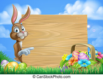 Easter Bunny Sign Background - Cartoon Easter bunny and...