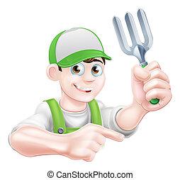 Gardener Holding Fork - A cartoon gardener character holding...