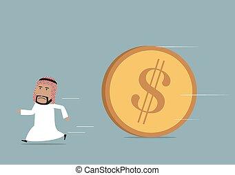 Arabian businessman funning from powerful dollar - Financial...