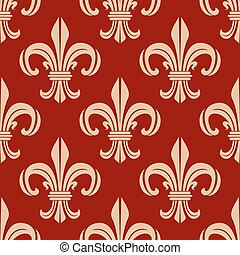 Red vector royal fleur-de-lis seamless pattern