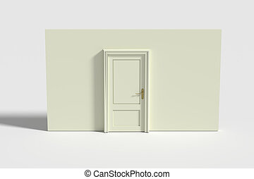 Door and white wall - 3d rendering of a door and white...
