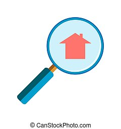 Magnifying glass with house sign