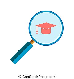 Magnifying glass with graduation cap
