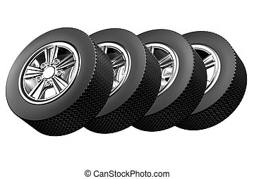 Car wheels, isolated on white background 3D render