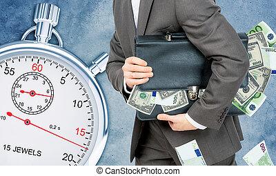hombre de negocios, con, maleta, Lleno, de, dinero,