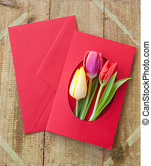 Colorful flowers in envelope - Colorful spring flowers in...