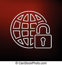Secure globe icon on red background