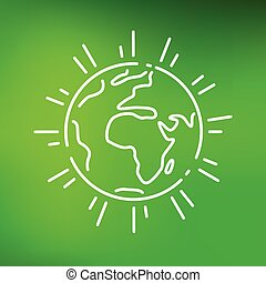 Earth icon on green background