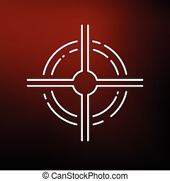 Target icon on red background - Scope icon Crosshair focus...