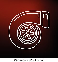 Turbo icon on red background - Vehicle performance turbo...