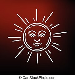 Sun face icon on red background - Sun face icon. Sun face...