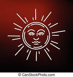 Sun face icon on red background - Sun face icon. Sun face...