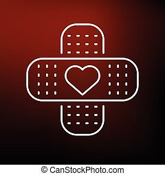Band aid heart icon on red - Band aid plaster icon with...
