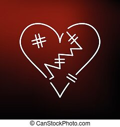 Broken heart icon on red background - Broken heart icon....
