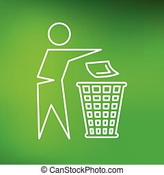 Trash bin icon on green background