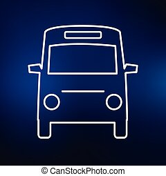 Mini bus icon on blue background - Minibus icon. Passenger...