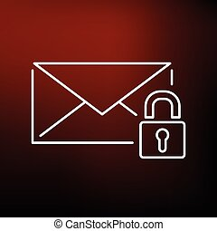 Secure email icon on red background - Secure SSL email icon...