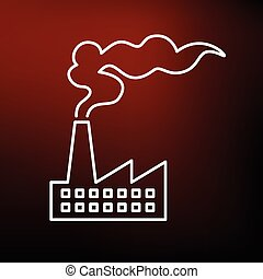 Factory icon on red background
