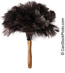 Ostrich Feather Duster - Black ostrich feather duster with...