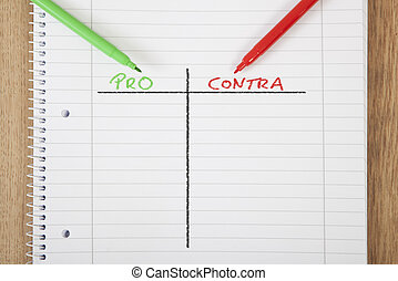 note per contra - a notepad with a pros and cons chart