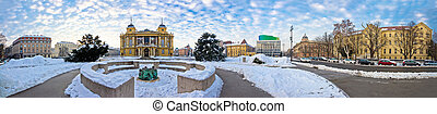Zagreb Marshal Tito square winter panorama, capital od...