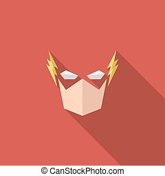 Villainous mask into flat style graphical illustration of...