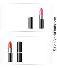 red and pink lipstick on white background - red and pink...