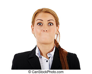 Businesswoman without her mouth - Female businesswoman...