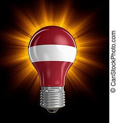Light bulb with Latvian flag