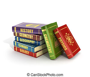 3d render of stack old colorful school books on a white background.
