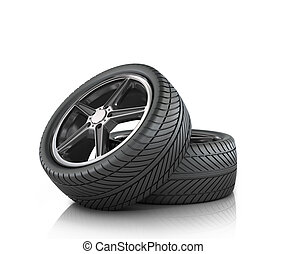 Two car wheels on a white background