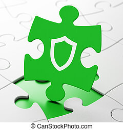 Privacy concept: Contoured Shield on puzzle background