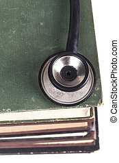 Black Stehoscope Closeup - Old Books Black Stethoscope...