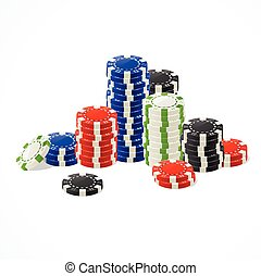 Casino Gambling Chips Stacks Vector - Colorful Casino...