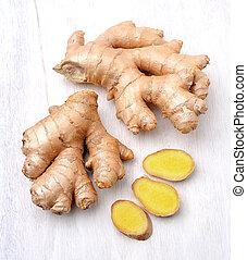 Ginger root. Slices ginger on white background.