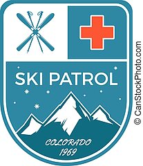 Ski Patrol Label Vintage Mountain winter sports explorer...