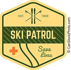 Ski Patrol Label. Vintage Mountain winter sports explorer...