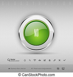 Vector design elements Green and chrome glossy button -...