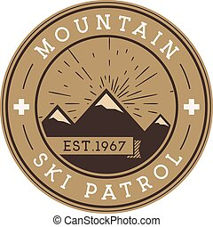 Ski Patrol Round Label Vintage Mountain winter sports...