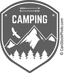 Camping Label. Vintage Mountain winter camp explorer badge. Outdoor adventure logo design. Travel monochrome and hipster color insignia. Snowboard icon symbol. Wilderness emblem and stamp. Vector