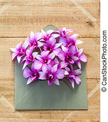 Colorful flowers in envelope - Colorful flowers in envelope,...