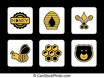 honey yellow icon on black background