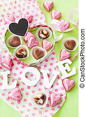 Colorful Chocolate hearts - Colorful Chocolates in heart...