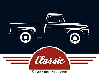 Classic pickup vehicle silhouette vector design
