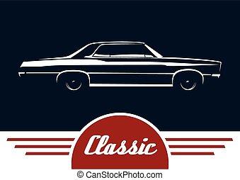 Classic sedan vehicle silhouette - Classic car - sedan...