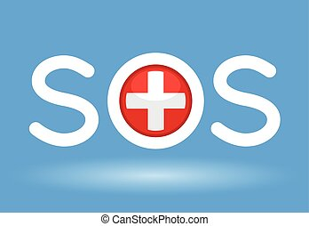 Medical cross with SOS text concept on blue background....